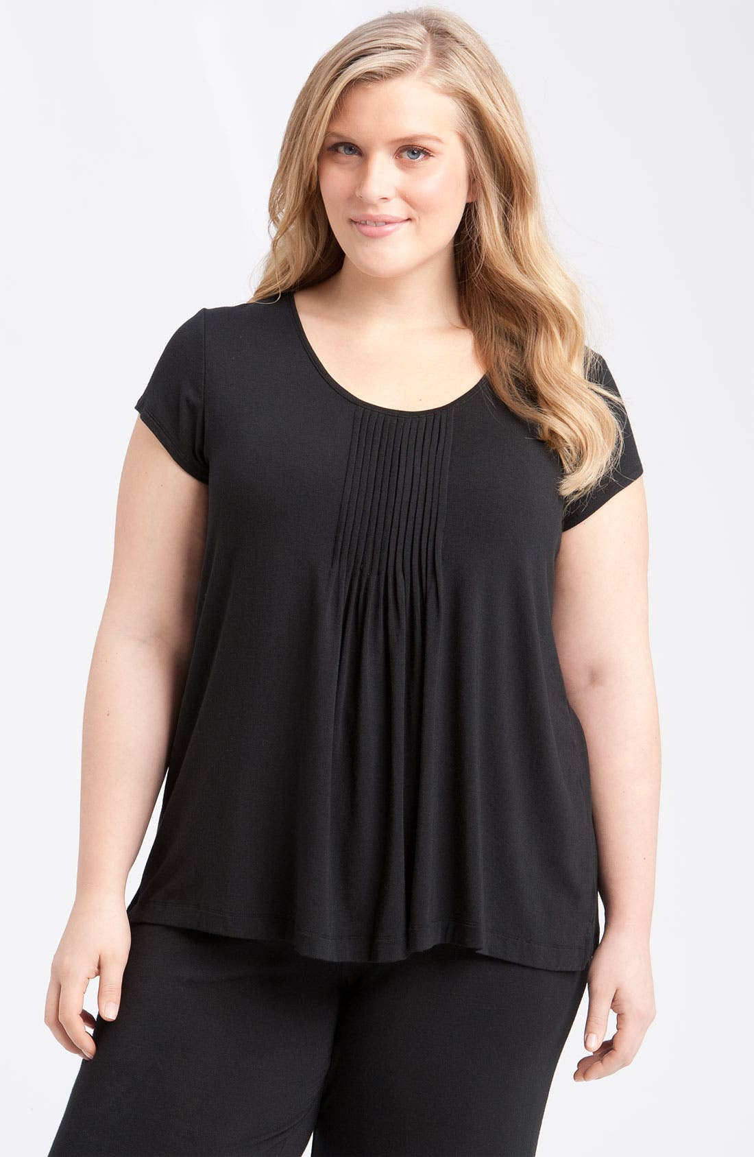 Alternate Image 1 Selected - DKNY '7 Easy Pieces' Pintuck Top (Plus Size)