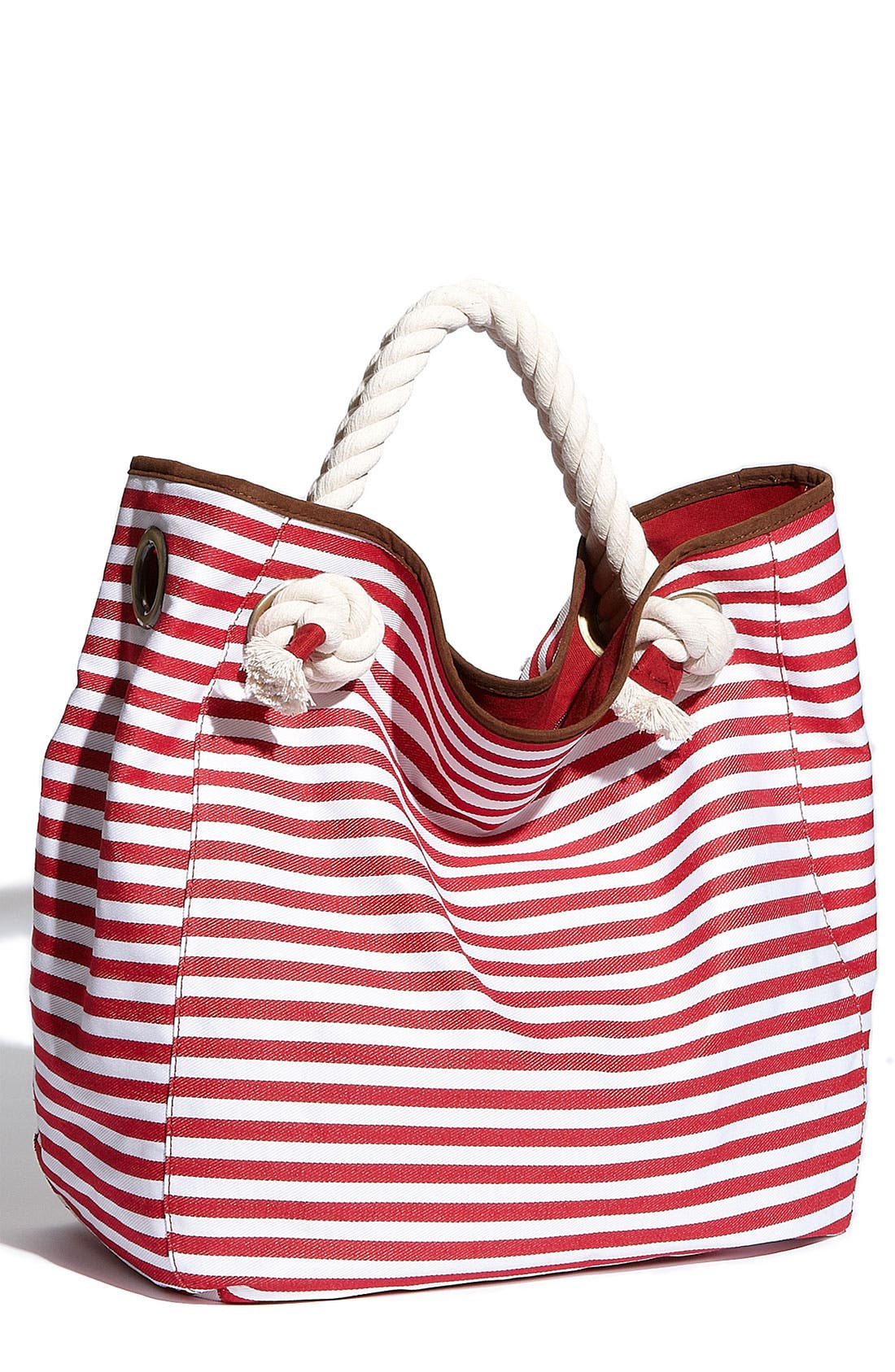 Main Image - Street Level Nautical Stripe Canvas Tote