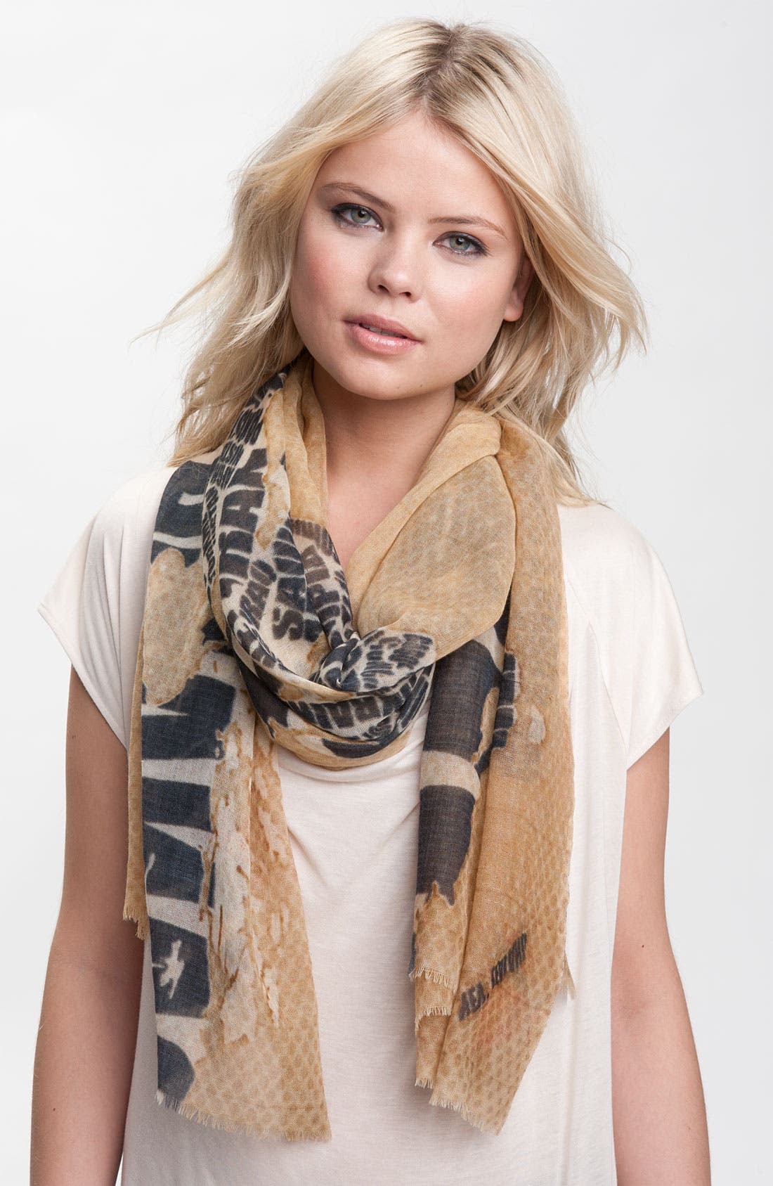 Main Image - Shawlux 'Captured Moments - Map Of The World' Cashmere & Silk Scarf