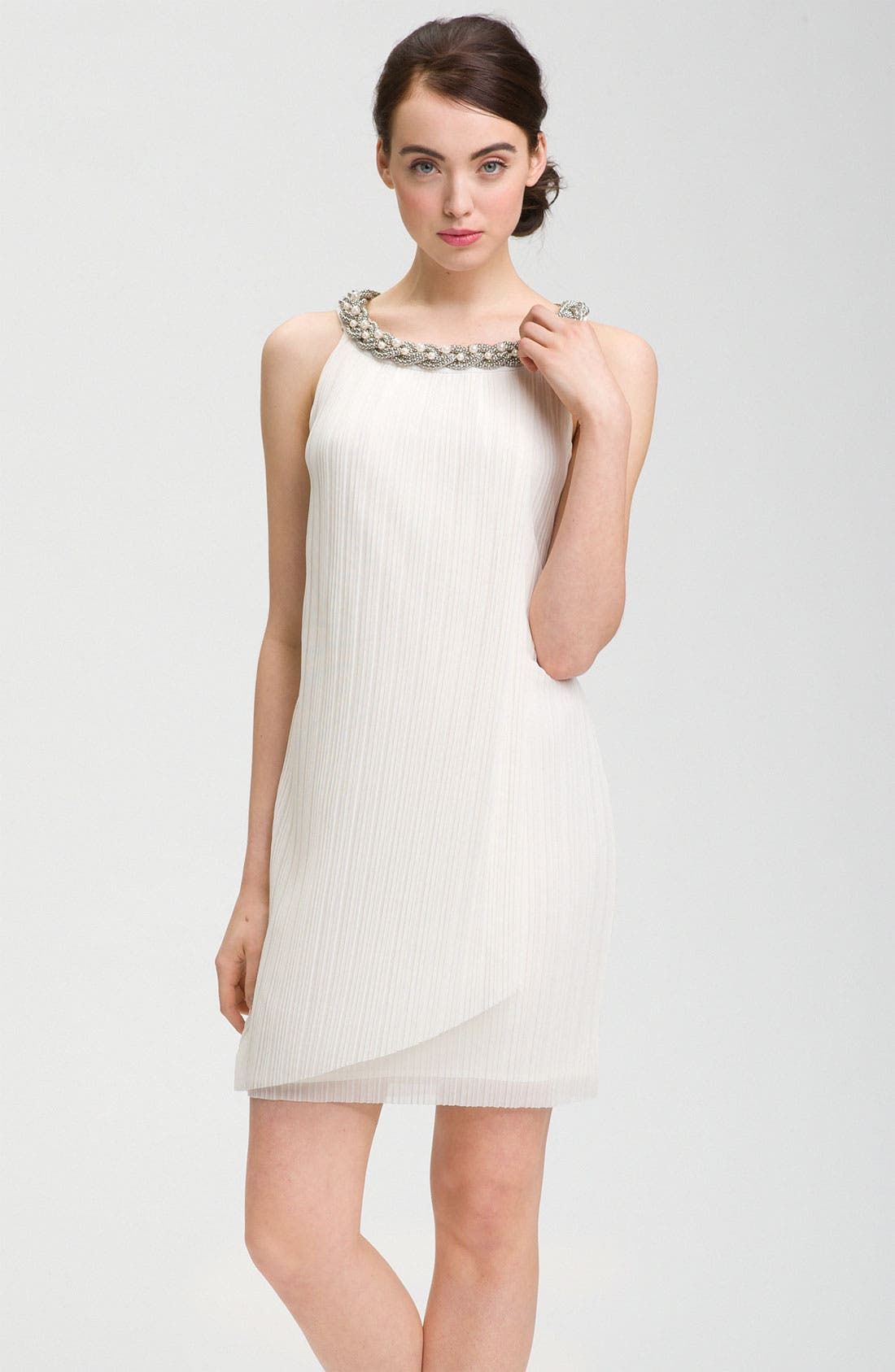 Alternate Image 1 Selected - Donna Ricco Embellished Neck Chiffon Shift Dress