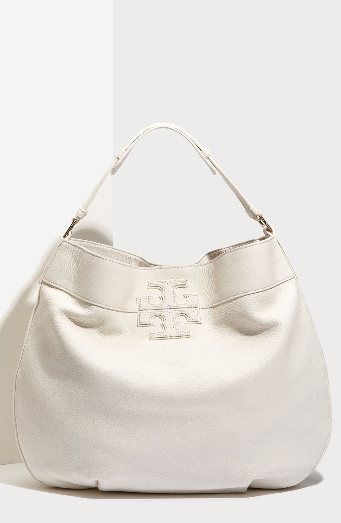 Main Image - Tory Burch 'Stacked T Logo' Leather Hobo