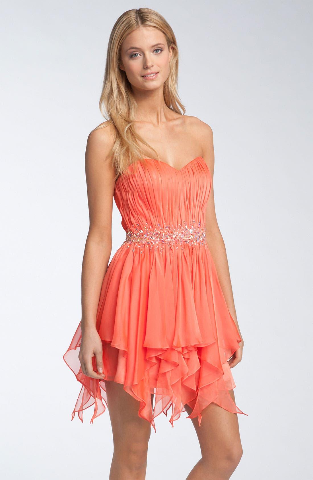 Alternate Image 1 Selected - La Femme Strapless Minidress