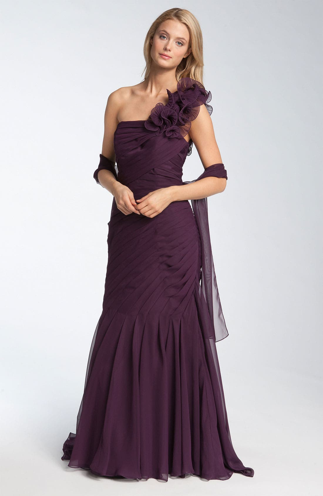 Main Image - Veni Infantino Pleated One Shoulder Ruffle Gown