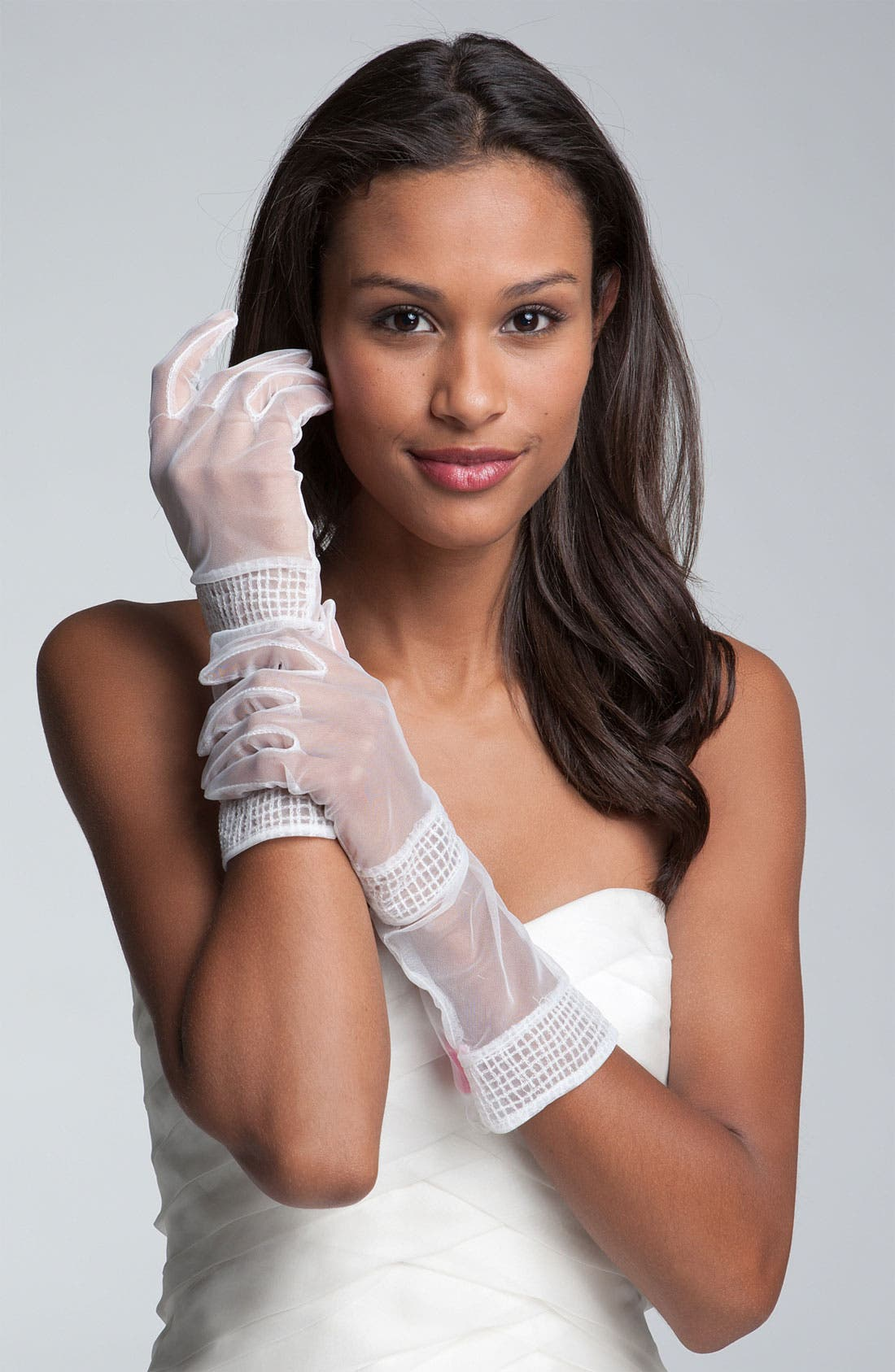 Alternate Image 1 Selected - Betsey Johnson Chiffon Gloves