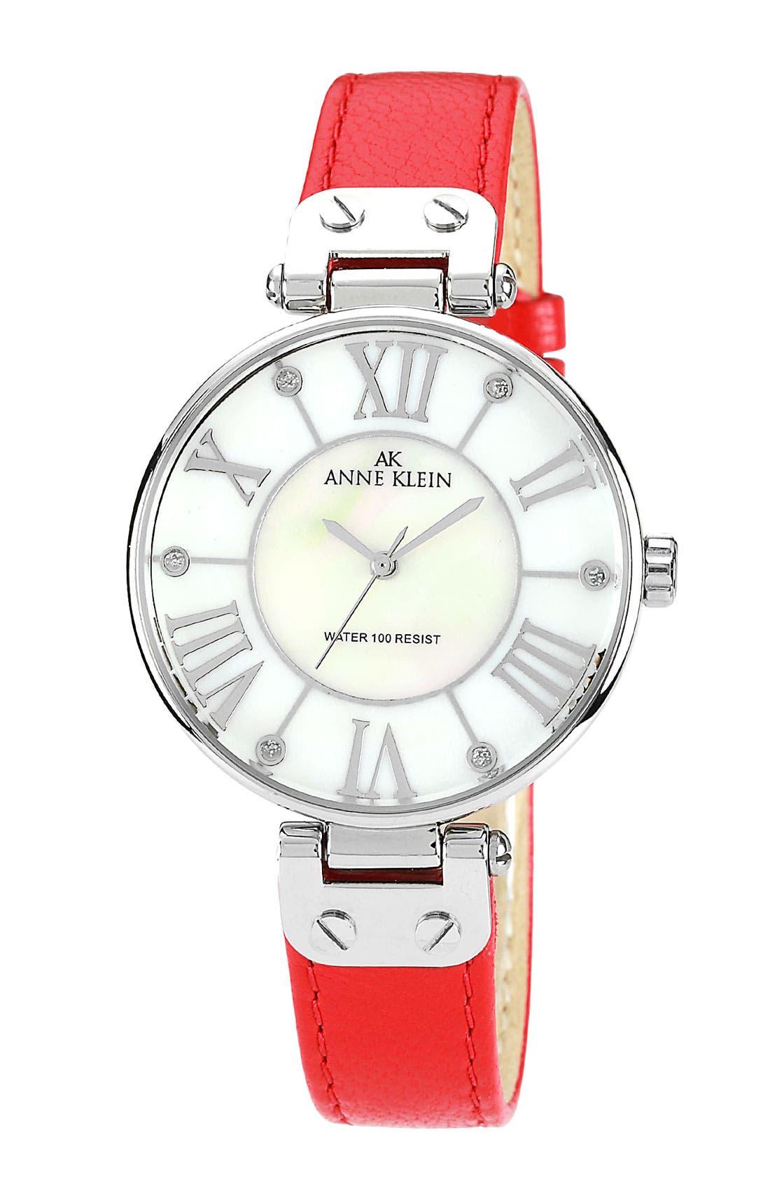 Main Image - Anne Klein Round Roman Numeral Watch, 34mm