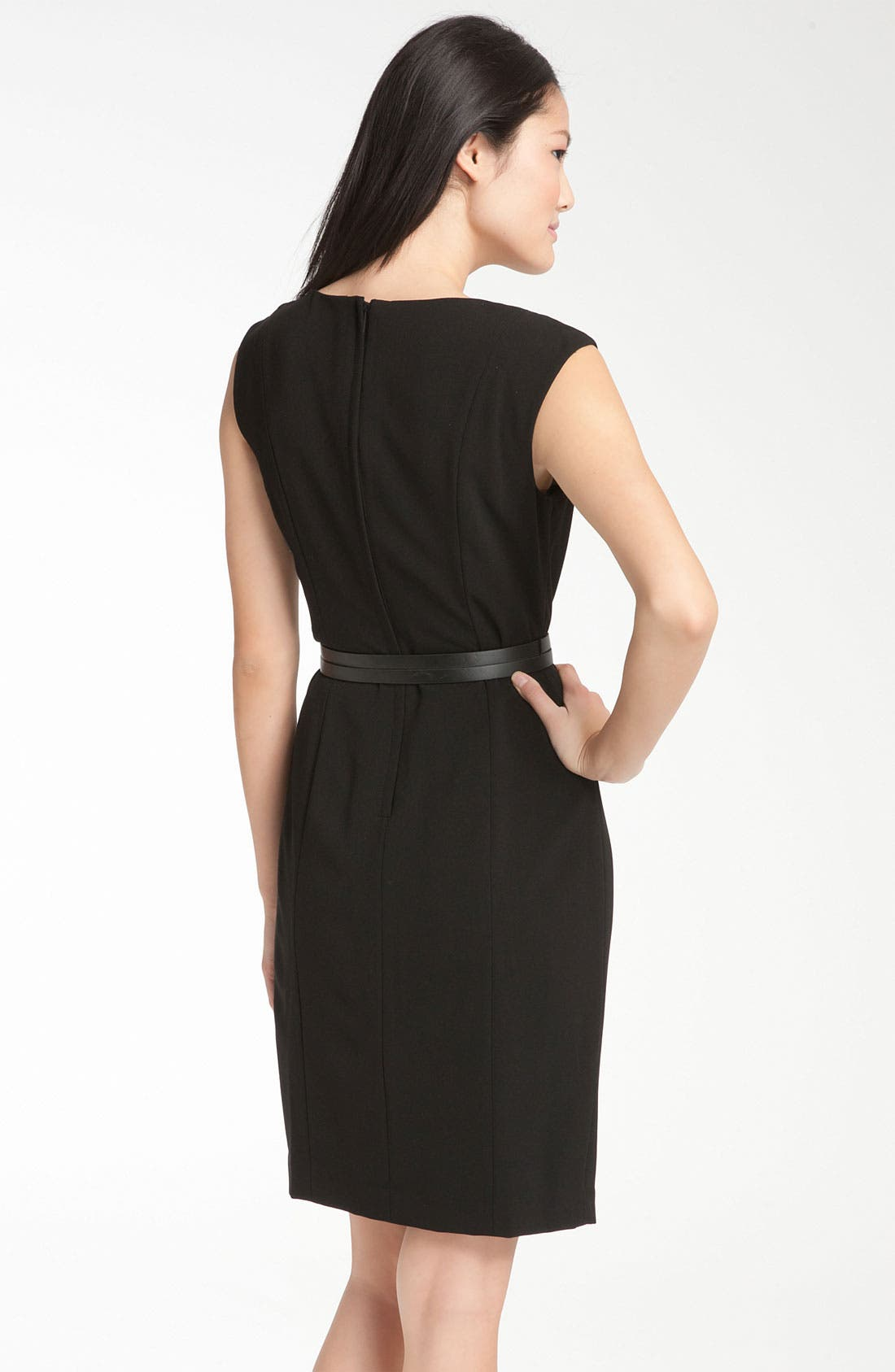 Alternate Image 2  - Calvin Klein Origami Detail Belted Jersey Sheath Dress
