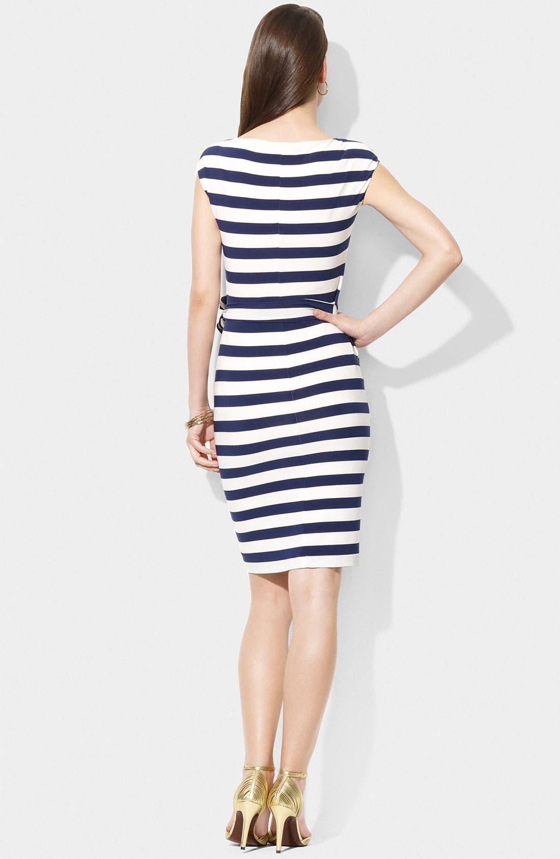 Alternate Image 2  - Lauren Ralph Lauren Stripe Side Tie Jersey Sheath Dress
