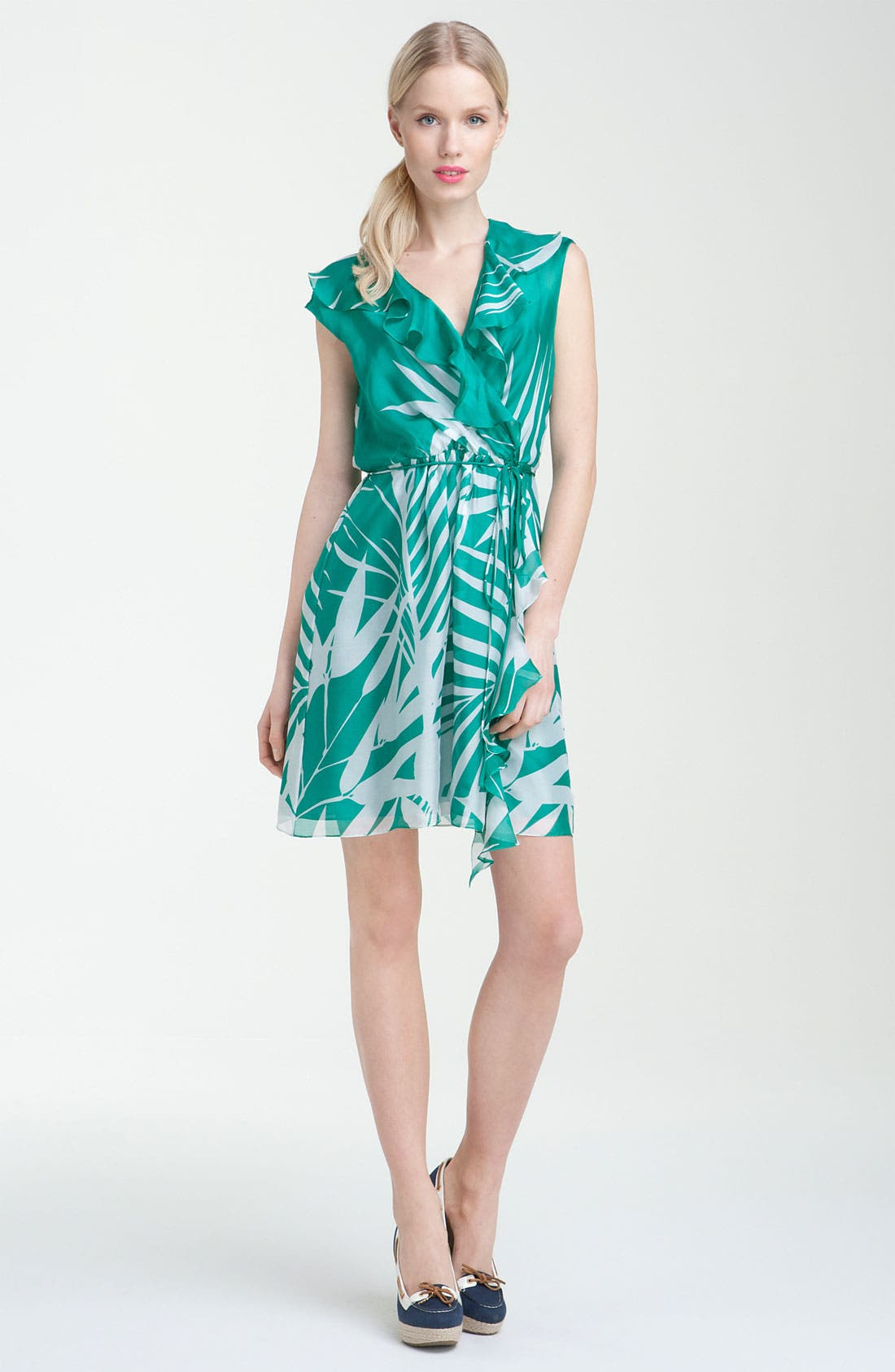 Main Image - Milly 'Madeira Palm' Print Faux Wrap Dress