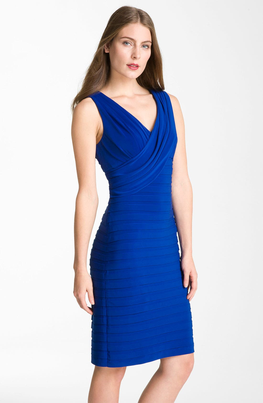 Alternate Image 1 Selected - Adrianna Papell Banded Surplice Jersey Dress