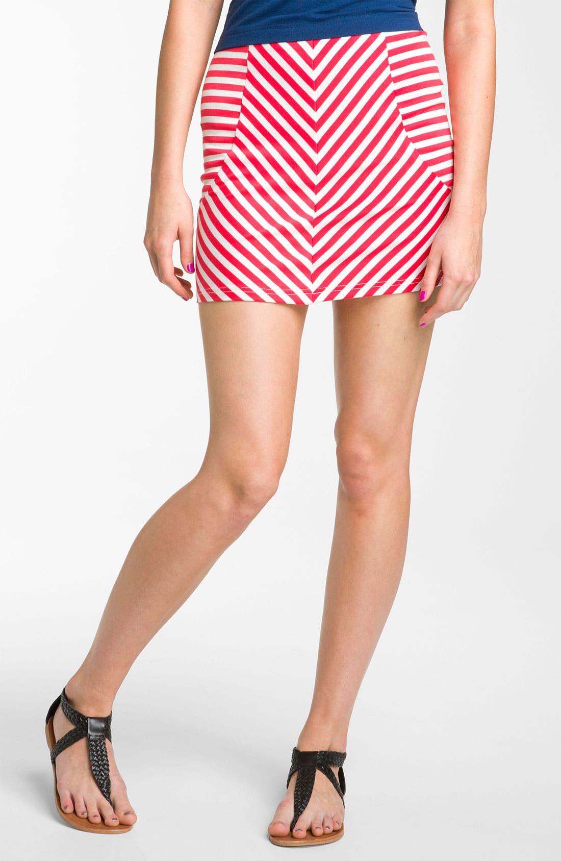 Alternate Image 1 Selected - Necessary Objects Stripe Miniskirt (Juniors)