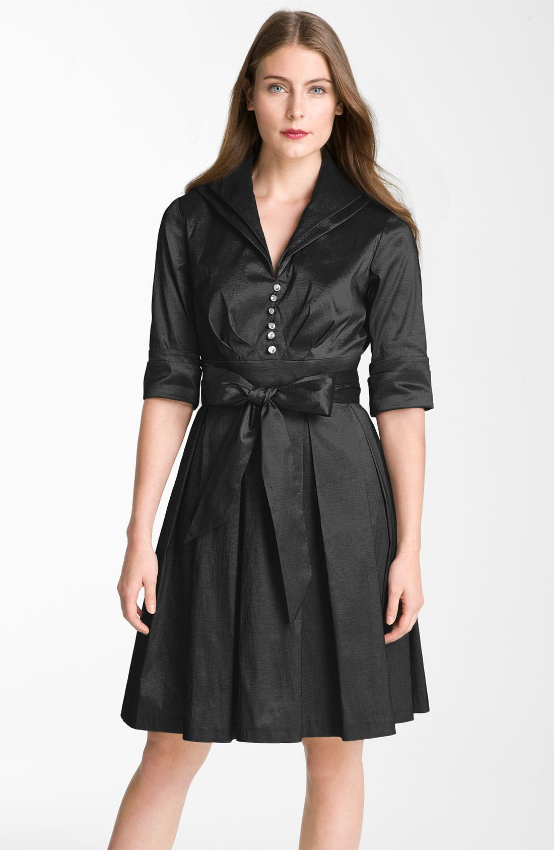 Main Image - Donna Ricco Metallic Fit & Flare Taffeta Shirtdress (Regular & Petite)