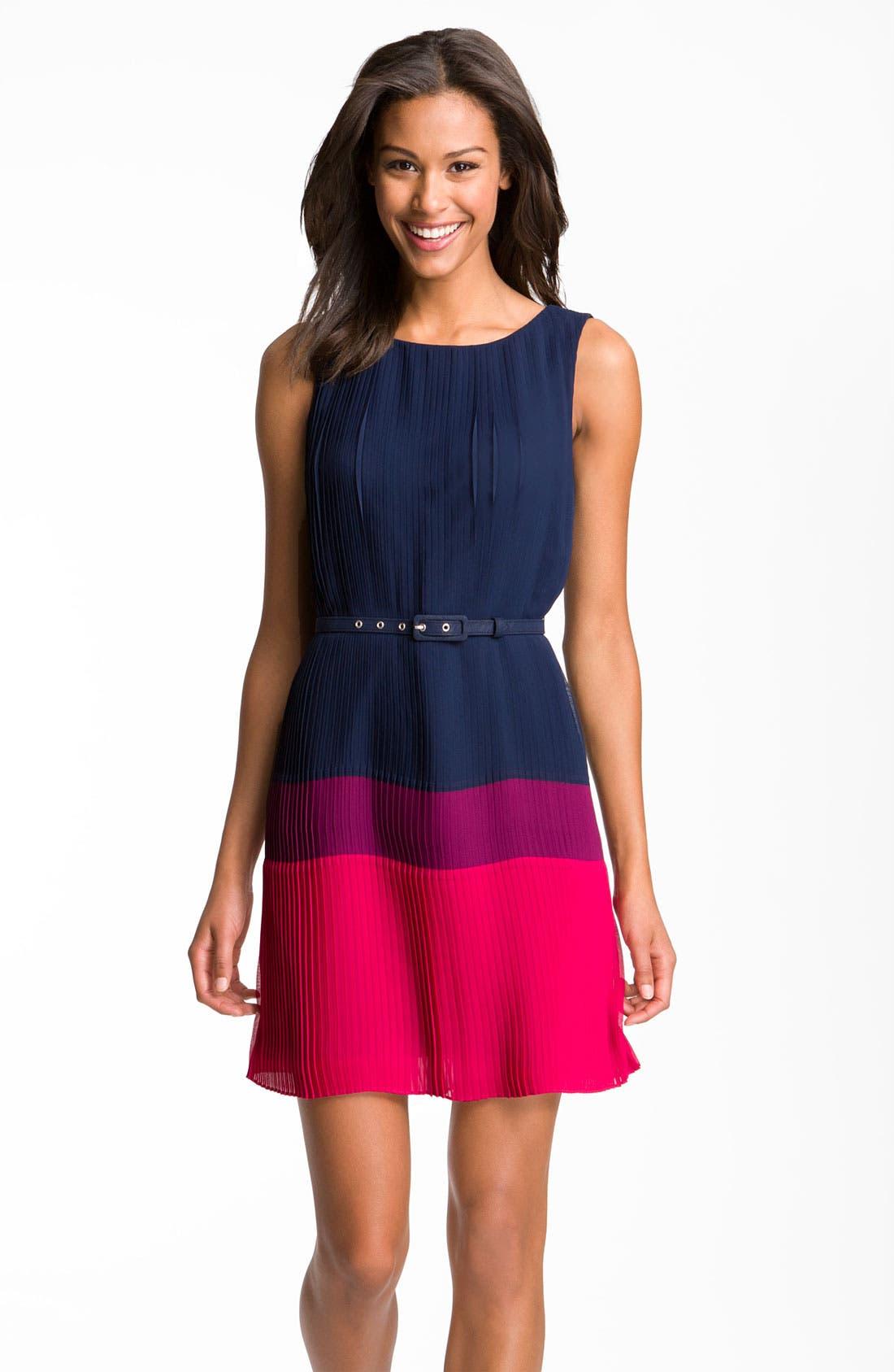 Alternate Image 1 Selected - Eliza J Pleated Colorblock Chiffon Dress