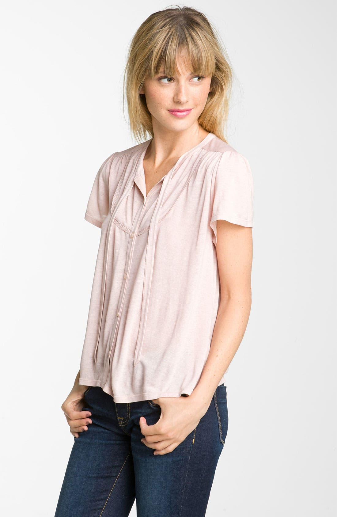 Alternate Image 1 Selected - Frenchi® Tie Front Top (Juniors)