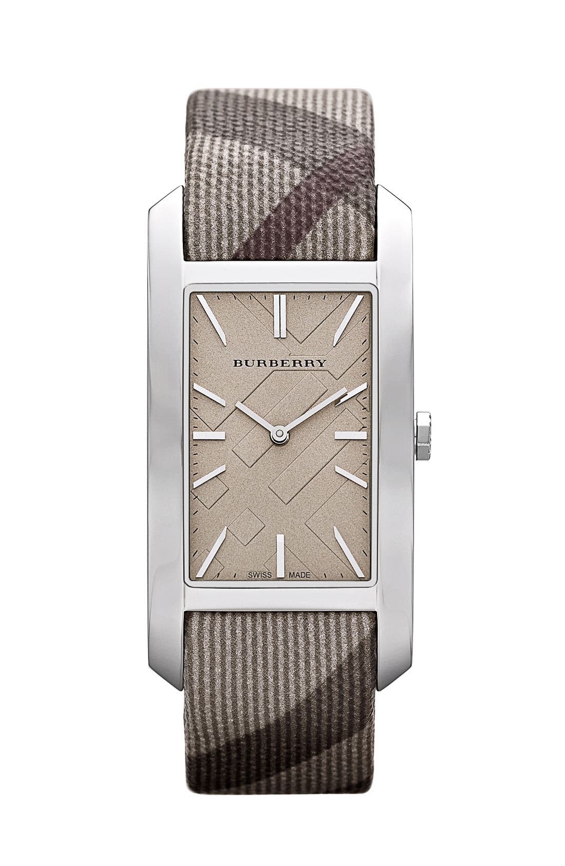 Alternate Image 1 Selected - Burberry Rectangular Check Strap Watch
