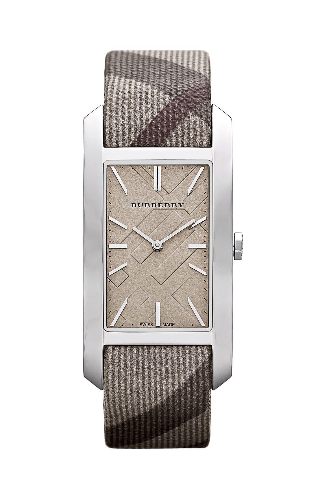Main Image - Burberry Rectangular Check Strap Watch