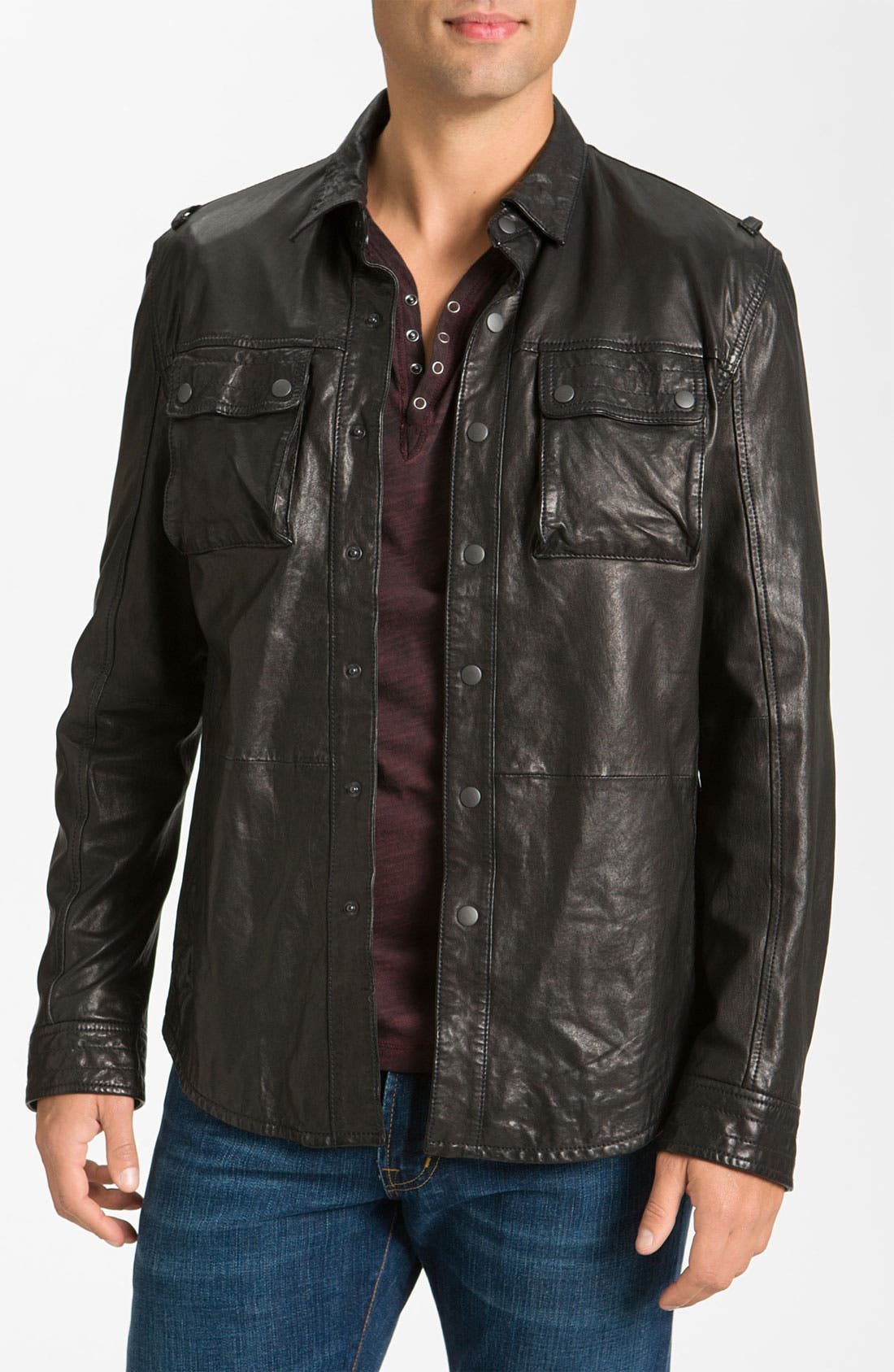 Main Image - John Varvatos Star USA Leather Jacket