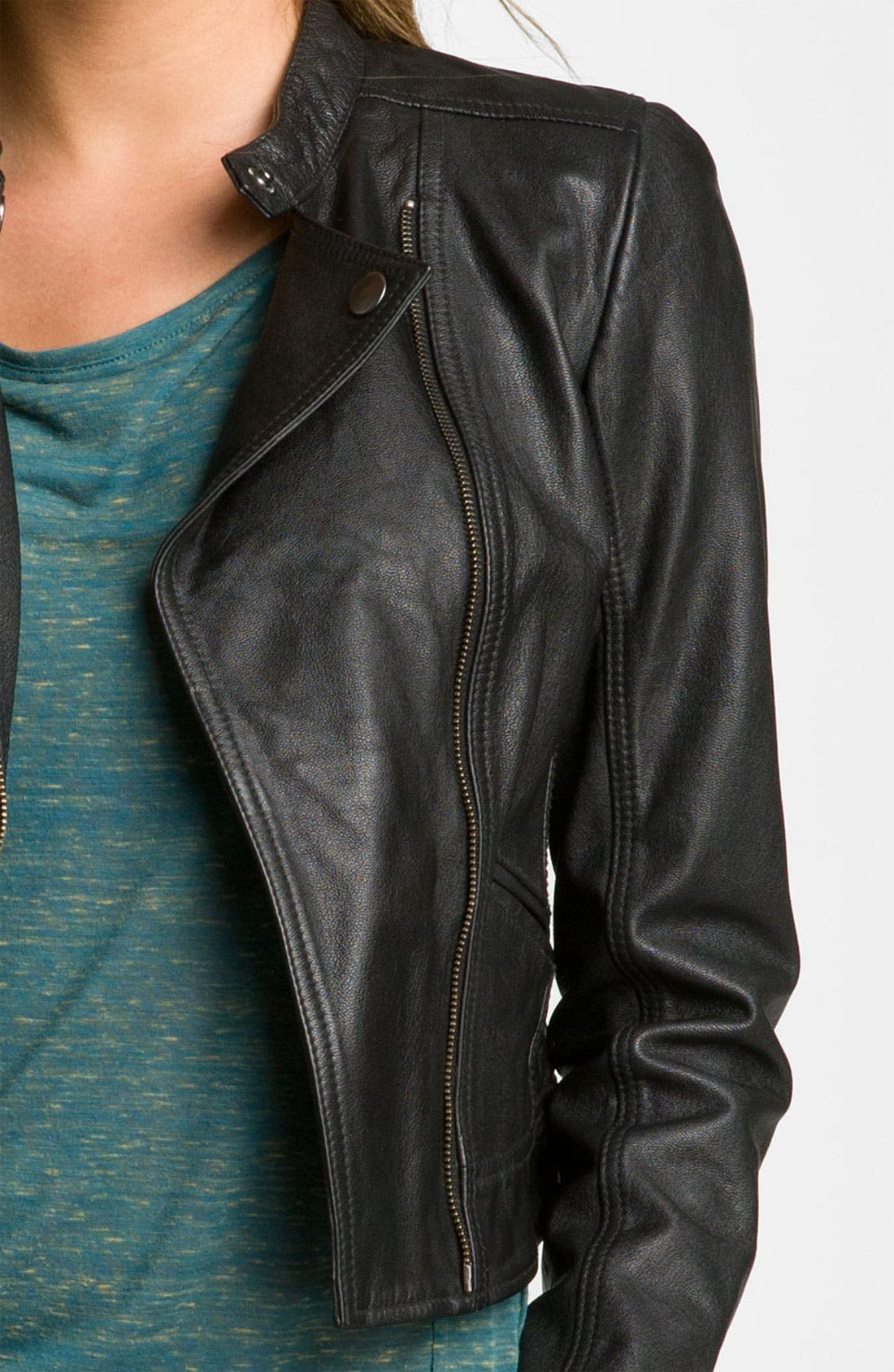 Alternate Image 3  - Rubbish® Crop Leather Biker Jacket (Juniors)