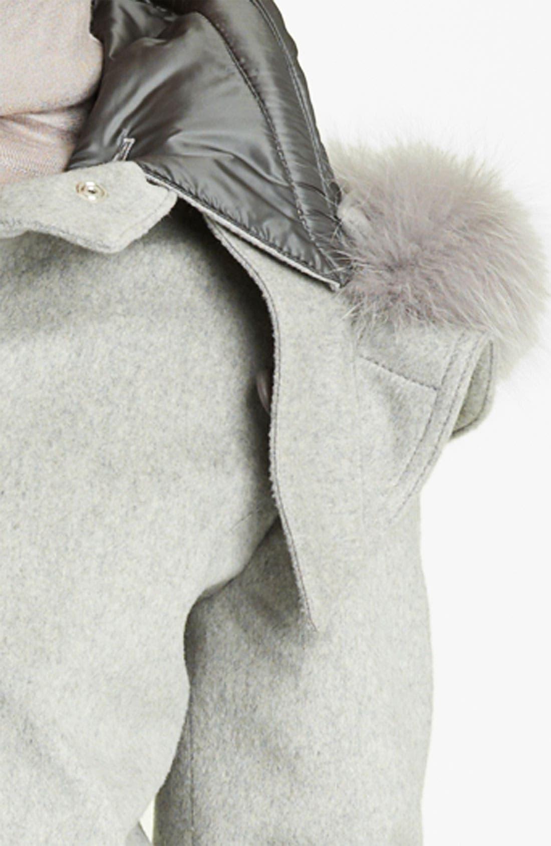 Alternate Image 3  - Fabiana Filippi Fox Fur Trim Wool Blend Coat