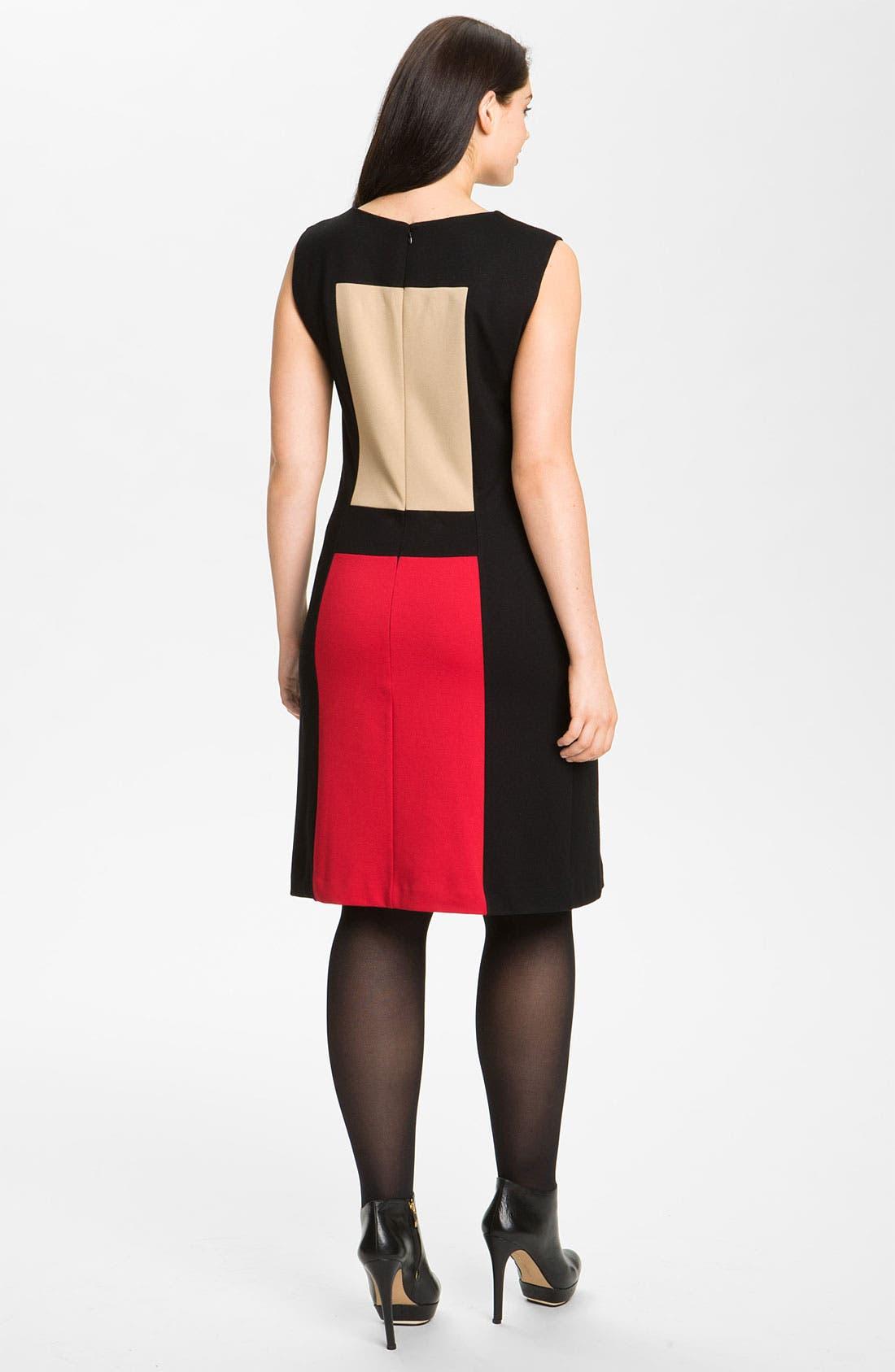 Alternate Image 2  - Calvin Klein Colorblock Ponte Knit Sheath Dress (Plus)