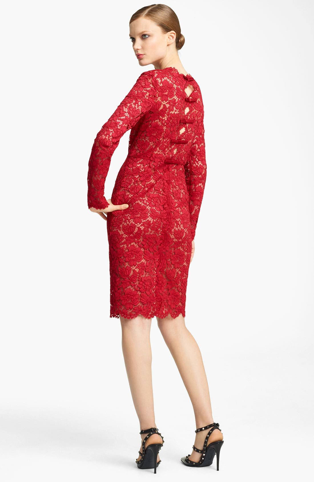 Alternate Image 2  - Valentino Bow Detail Lace Sheath Dress