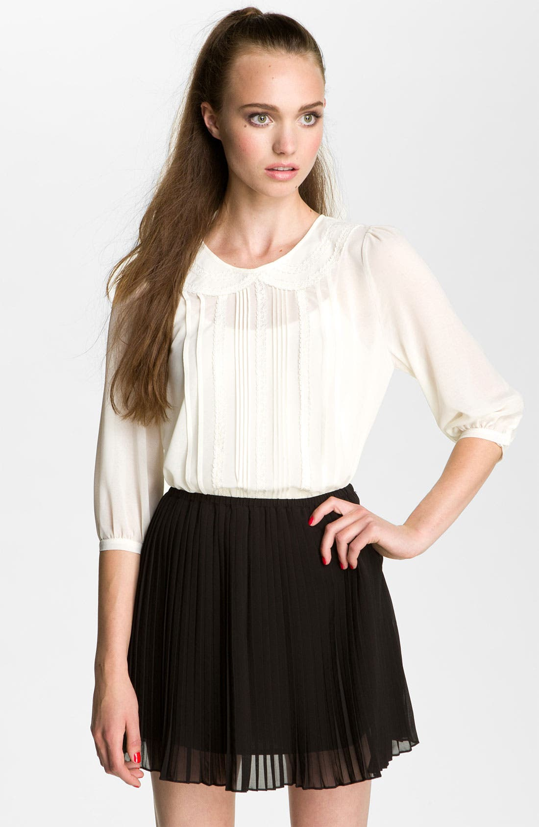 Alternate Image 1 Selected - Lush Pintuck & Lace Blouse (Juniors)