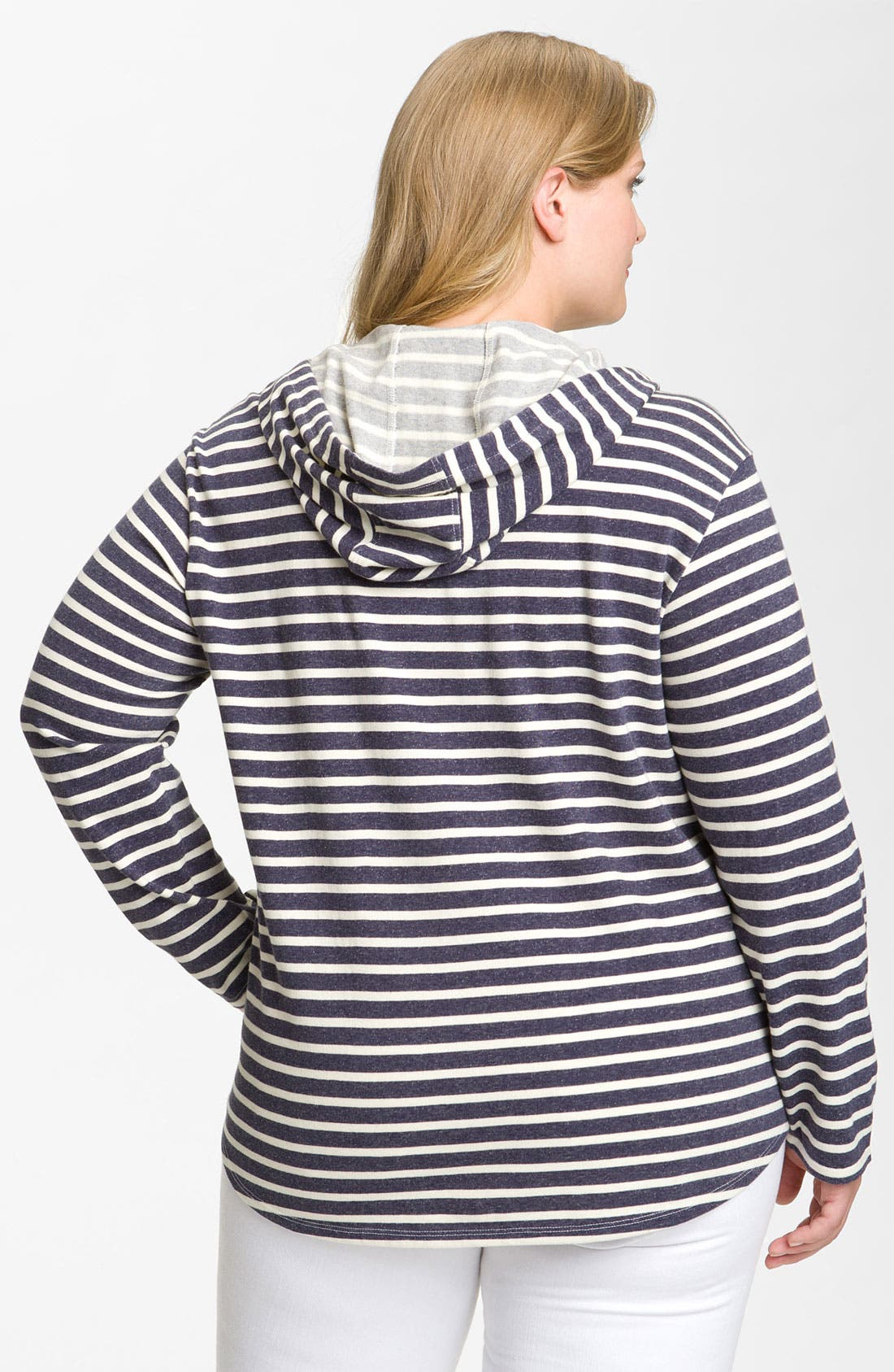 Alternate Image 2  - Sejour Stripe Knit Hoodie (Plus)