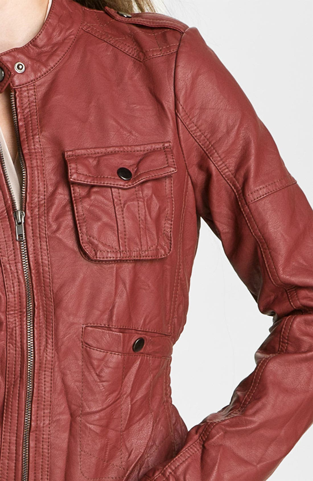 Alternate Image 3  - Collection B Quilted Faux Leather Jacket (Juniors)