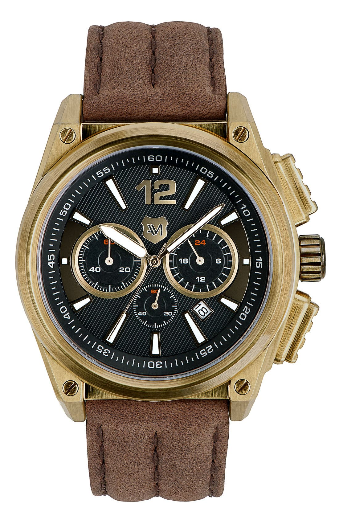 Alternate Image 1 Selected - Andrew Marc Watches Round Leather Strap Watch