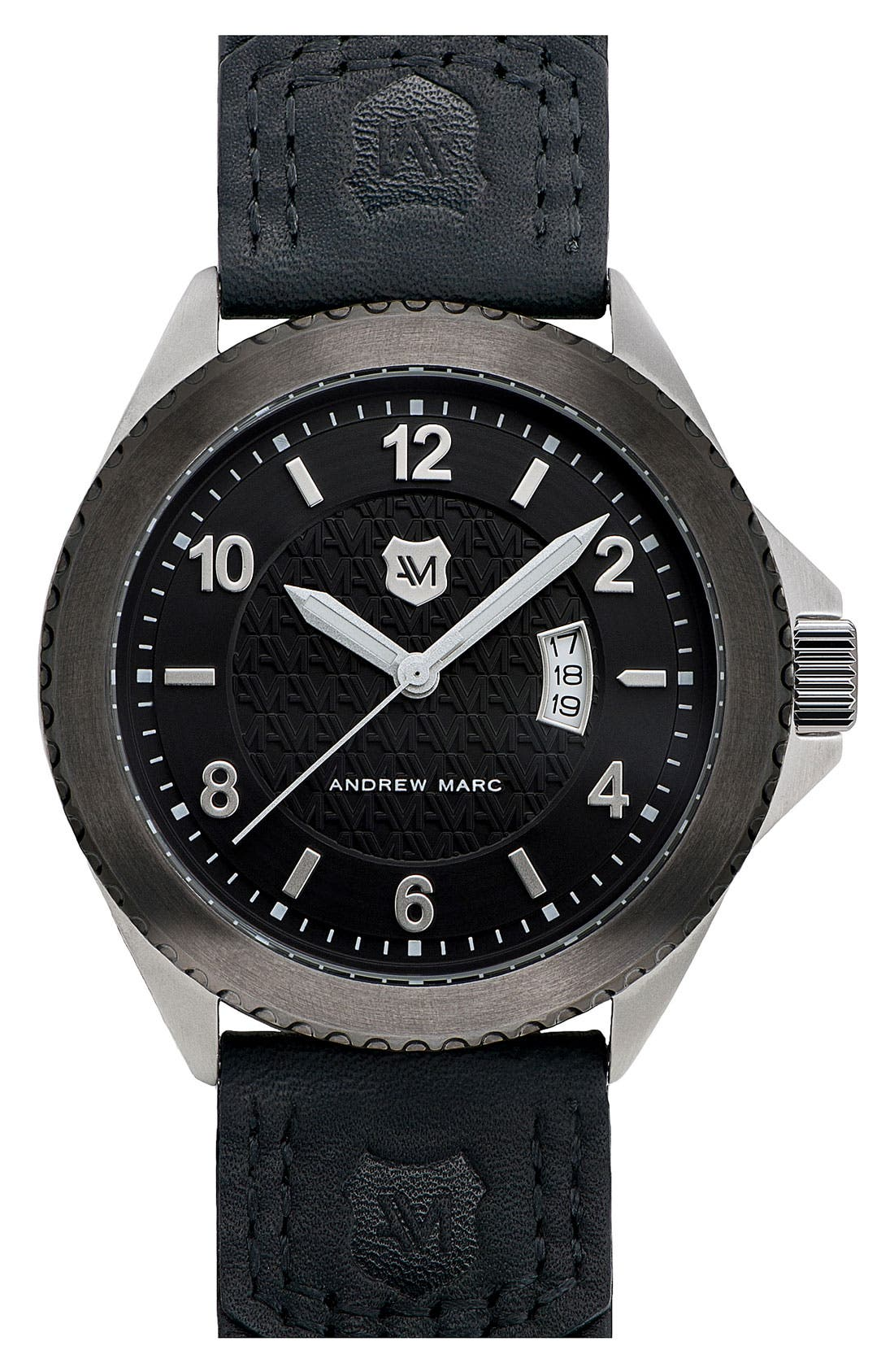 Alternate Image 1 Selected - Andrew Marc Watches 'Heritage Roadside' Round Leather Strap Watch