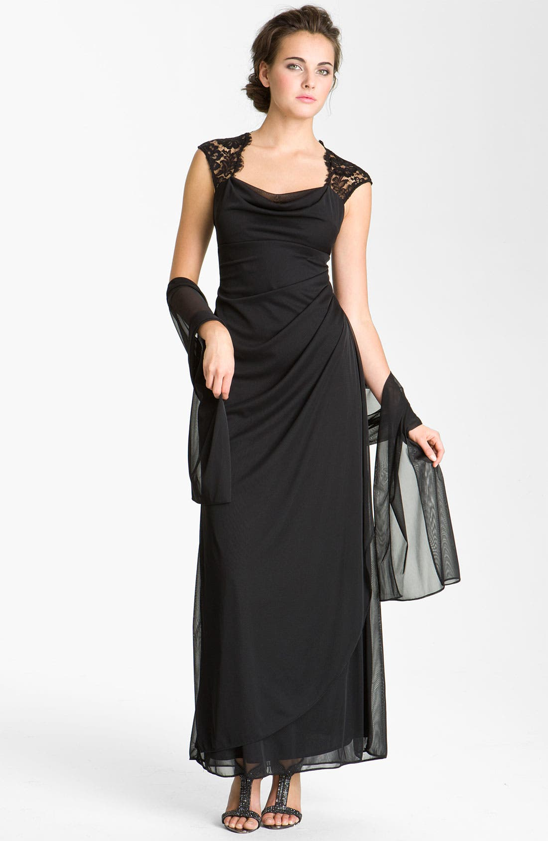 Alternate Image 1 Selected - Xscape Open Back Draped Mesh Gown
