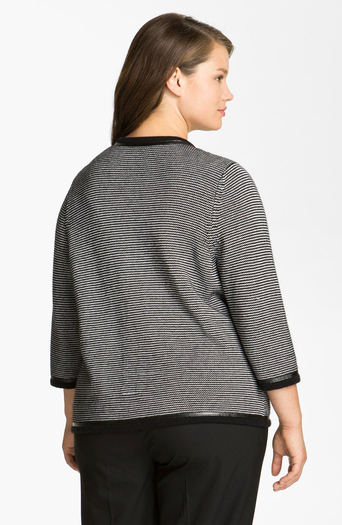 Alternate Image 2  - Sejour Leather Trim Sweater Jacket (Plus)