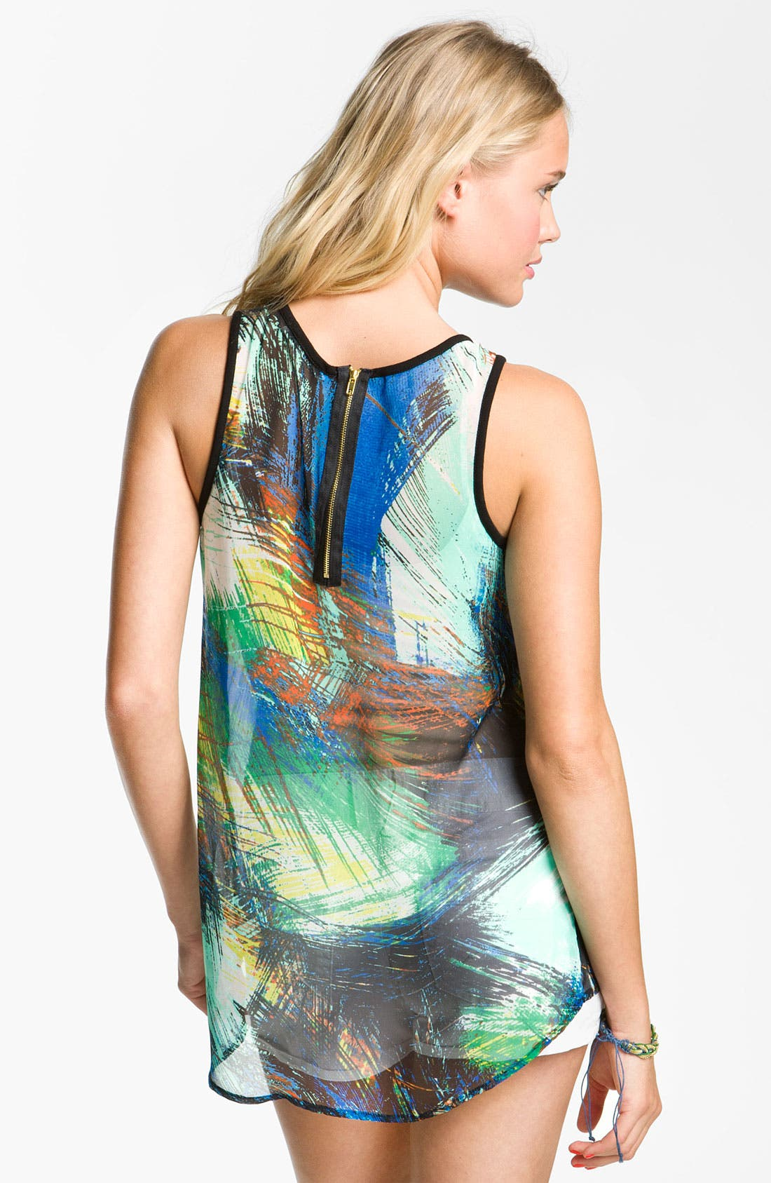 Alternate Image 2  - Chloe K Print Chiffon Tank (Juniors)