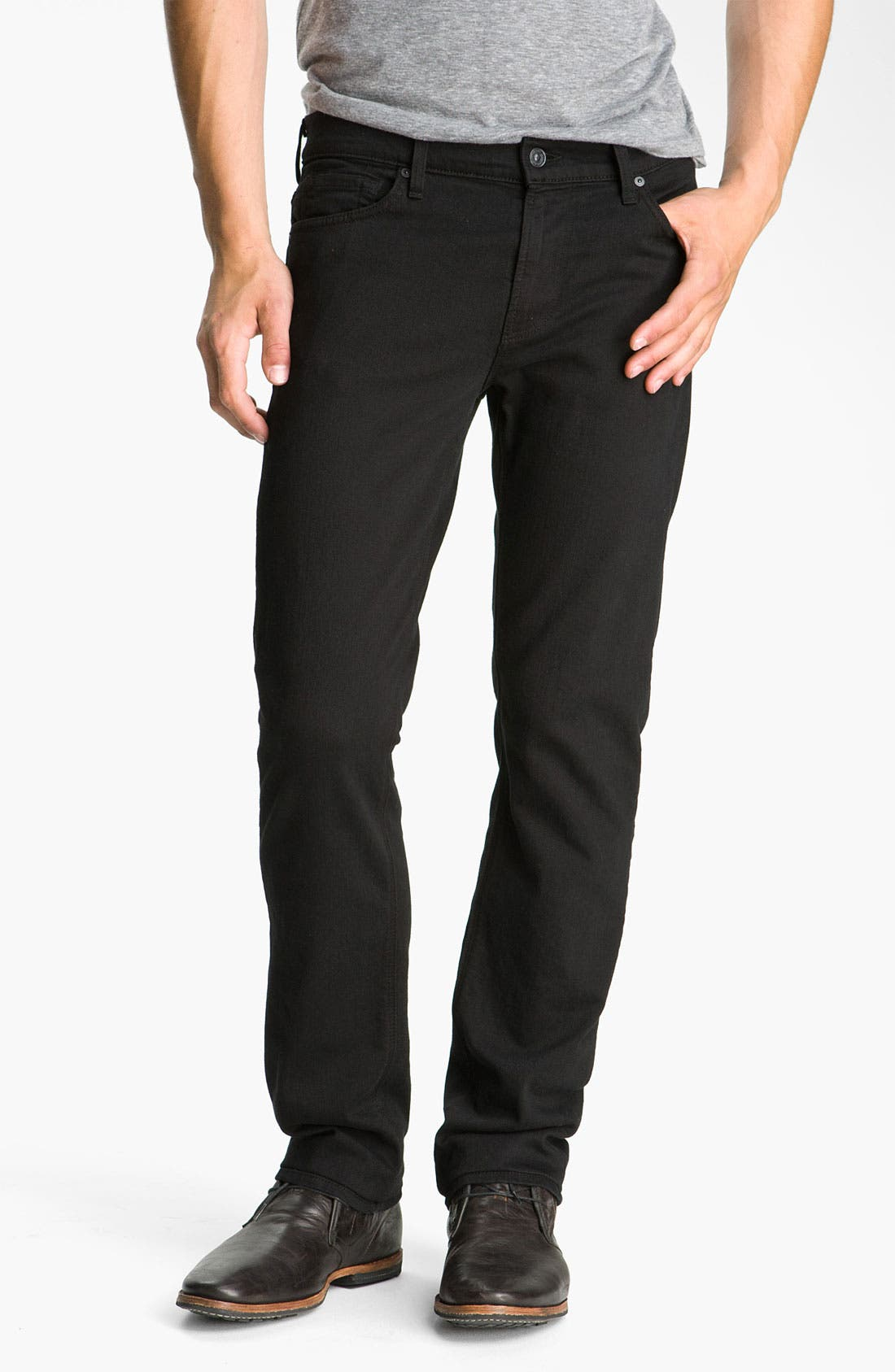 Alternate Image 1  - 7 For All Mankind® 'Slimmy' Slim Fit Jeans (Black Out)