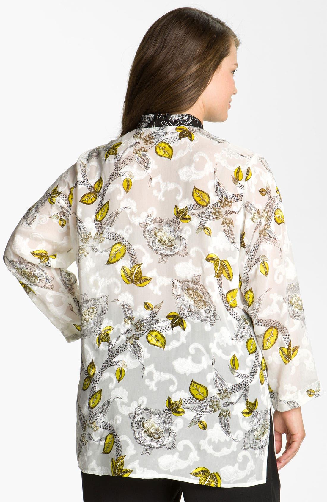 Alternate Image 2  - Citron Print Silk Blend Jacket (Plus)