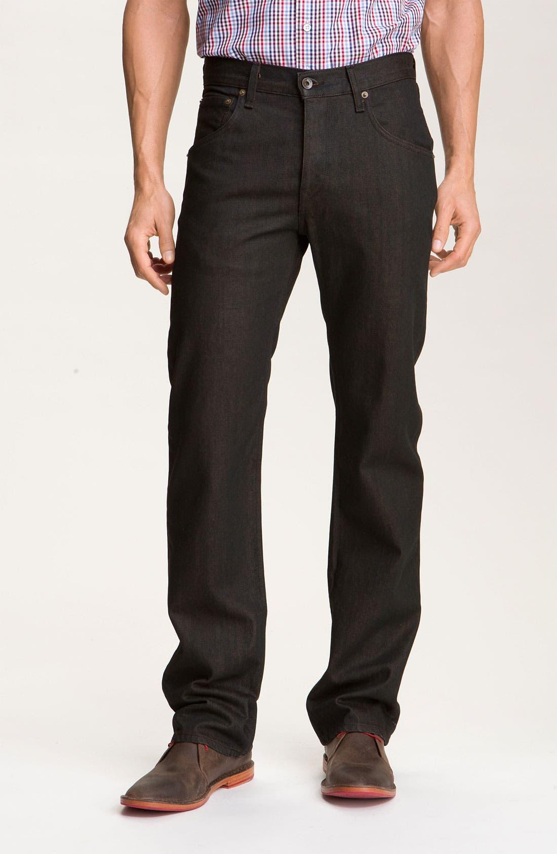 Alternate Image 2  - rag & bone Straight Leg Jeans (Brown Resin Wash)