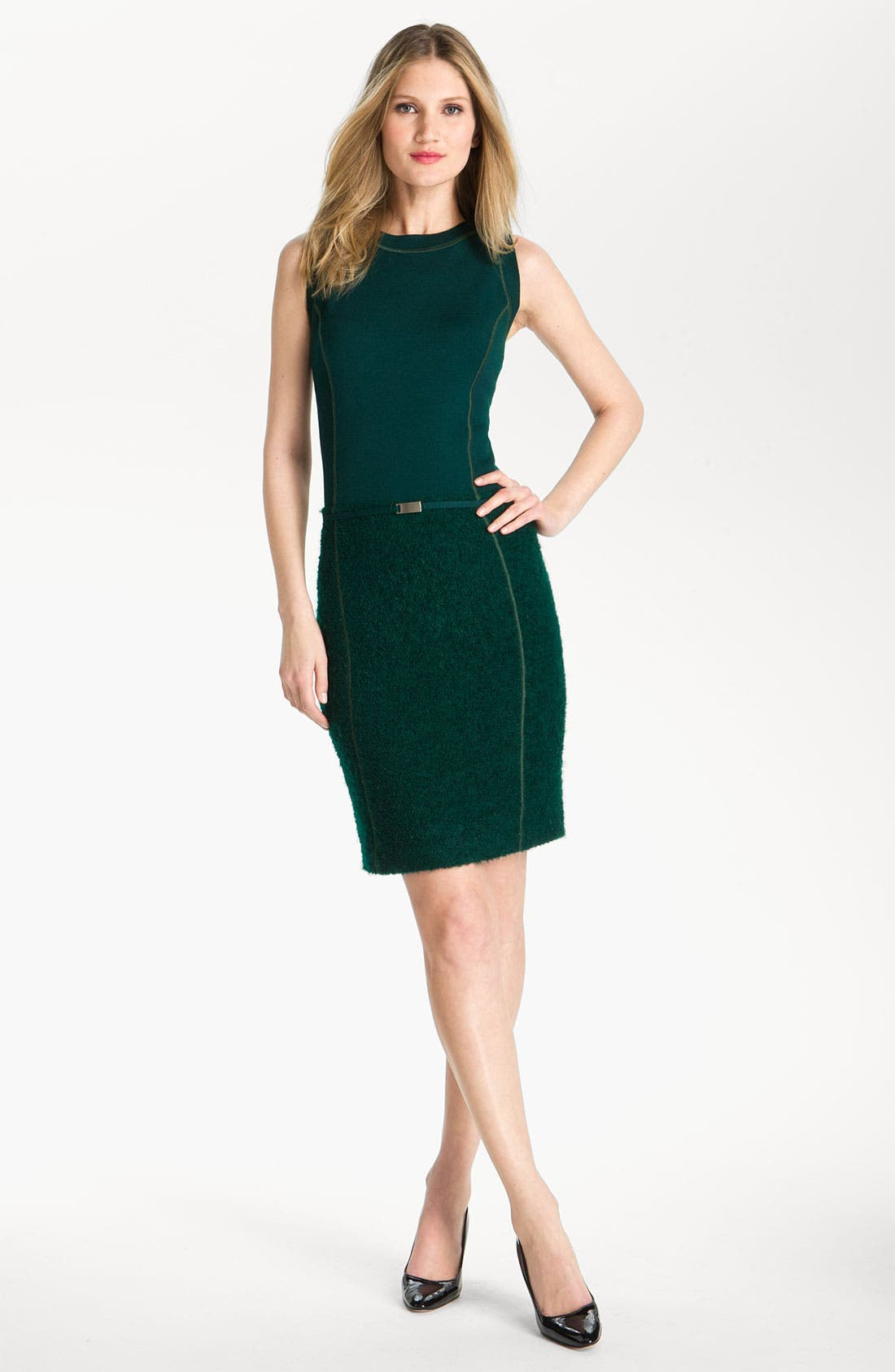 Main Image - St. John Collection Milano Knit & Boucle Dress