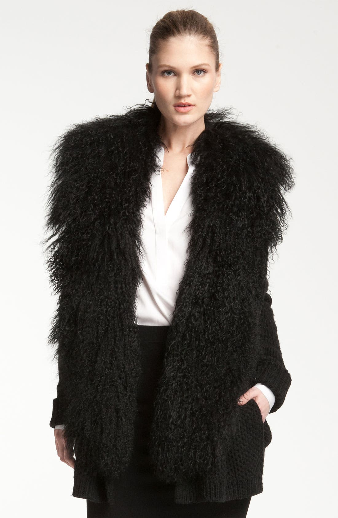 Main Image - Vince Genuine Sheep Fur Collar Cardigan