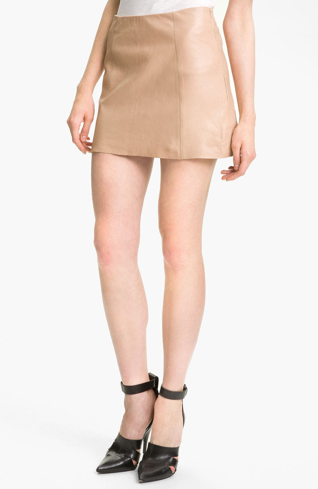 Main Image - T by Alexander Wang Leather A-Line Miniskirt