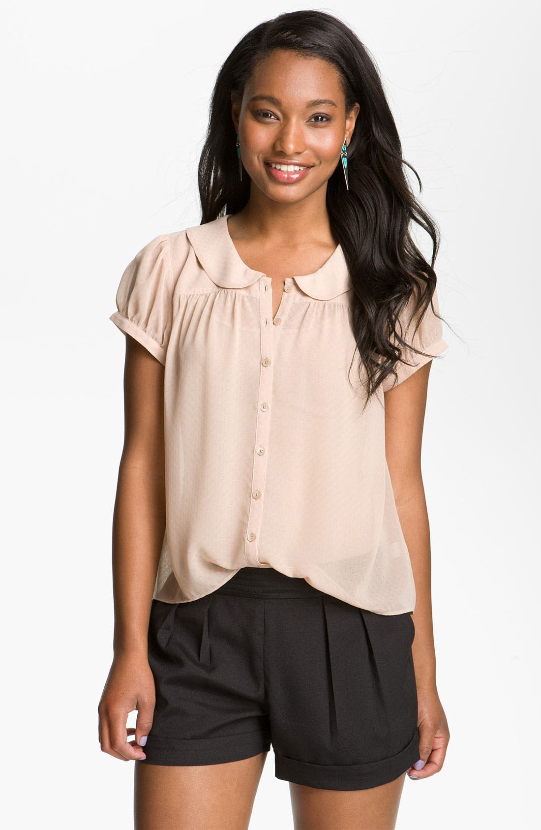 Alternate Image 1 Selected - Frenchi® Peter Pan Collar Blouse (Juniors)