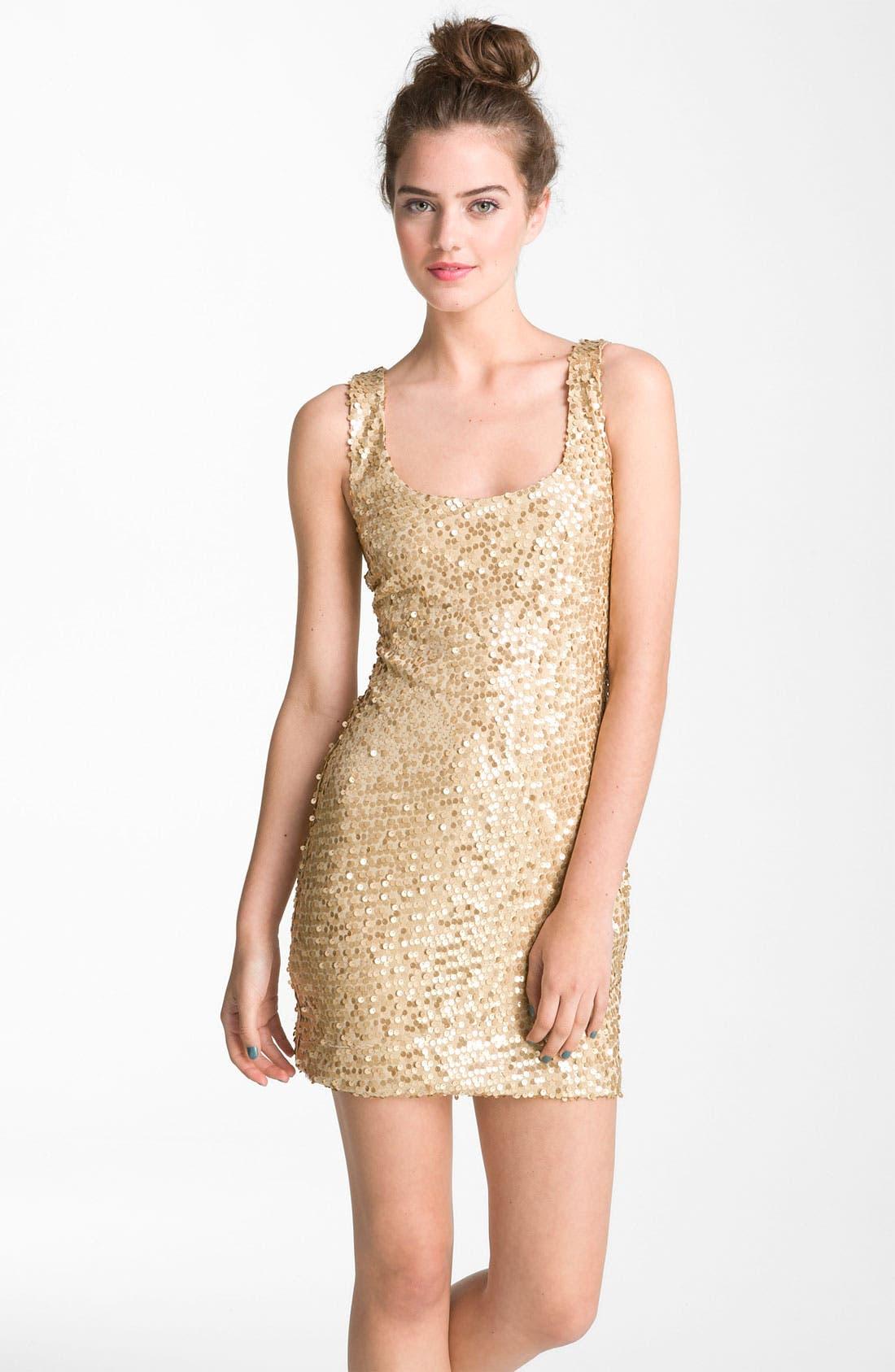 Alternate Image 1 Selected - As U Wish Sequin Tank Dress (Juniors)