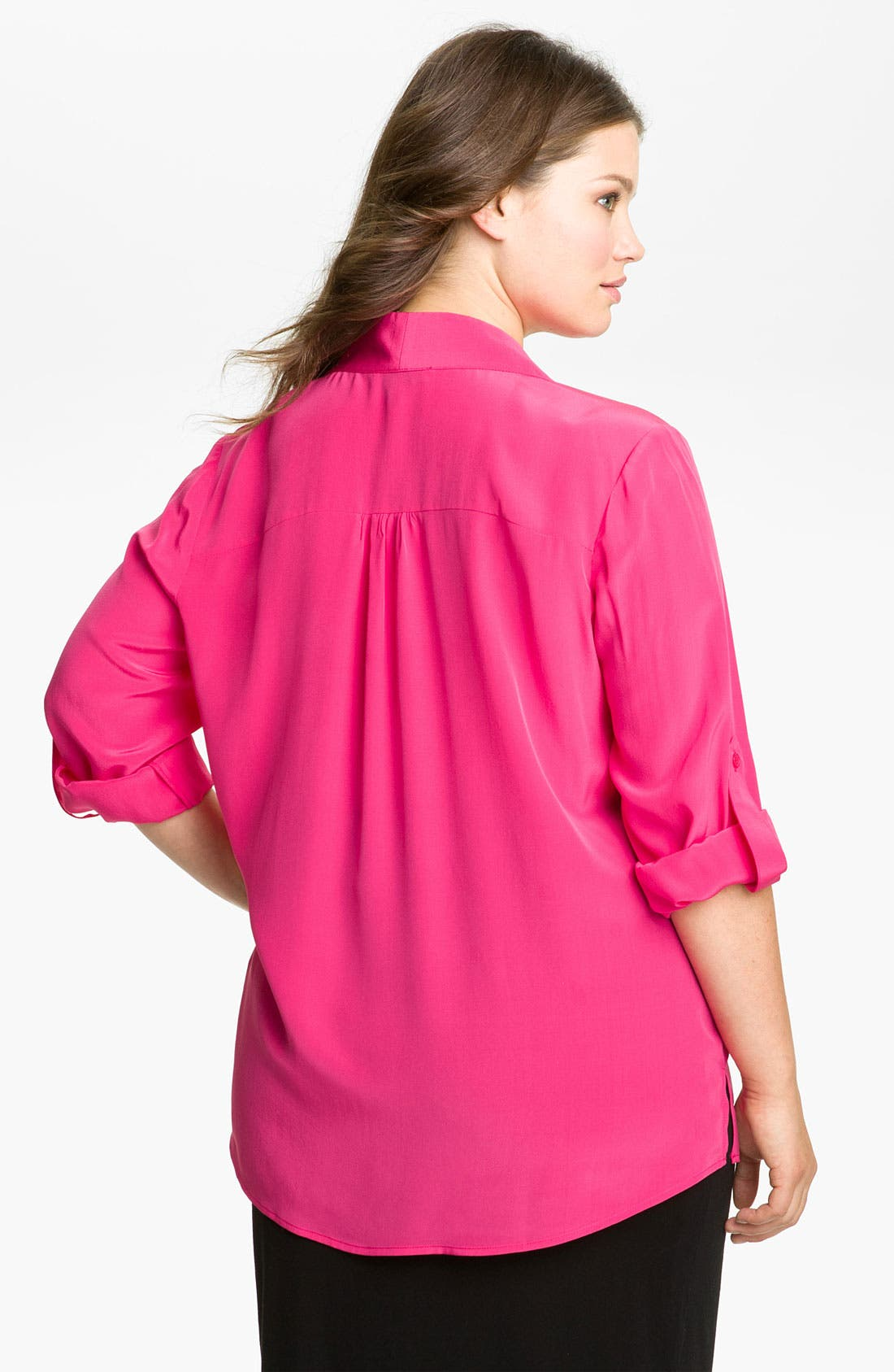 Alternate Image 2  - Scilla by Dora Landa Silk Henley Blouse (Plus)
