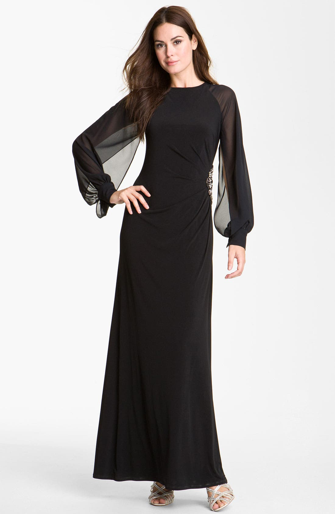 Alternate Image 1 Selected - Eliza J Chiffon Sleeve Jersey Gown