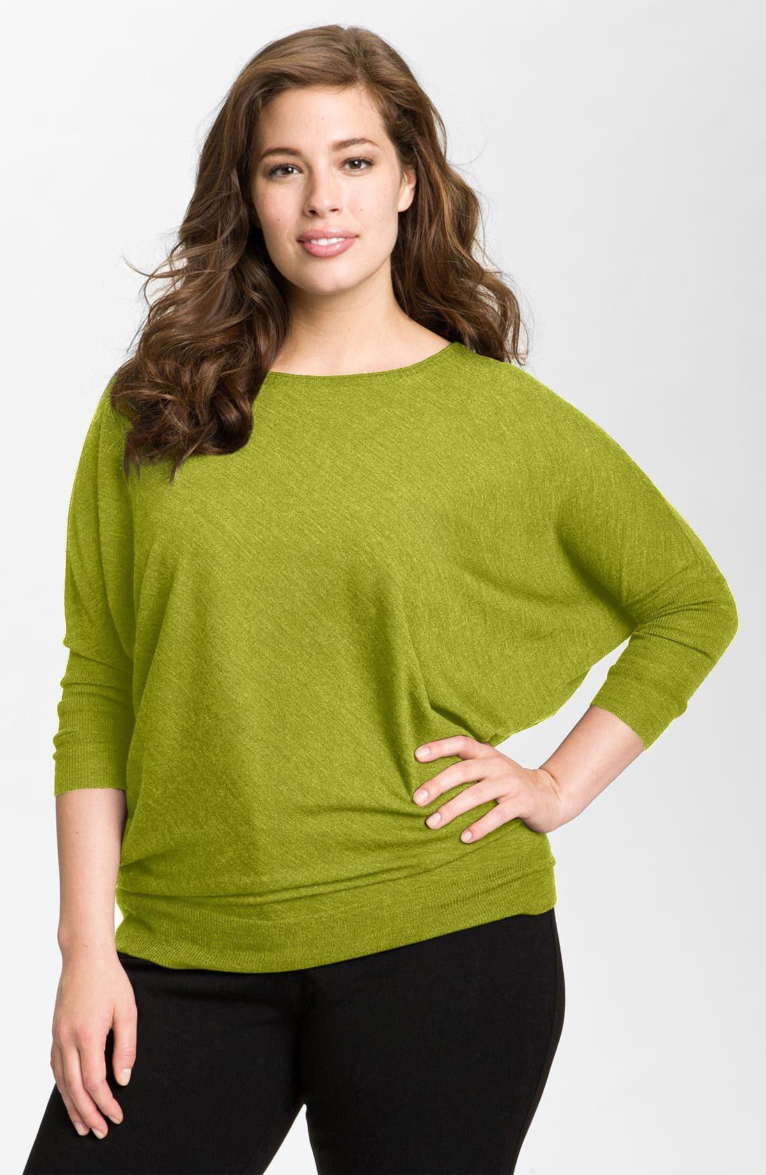 Alternate Image 1 Selected - Eileen Fisher Colorblock Merino Wool Sweater (Plus)