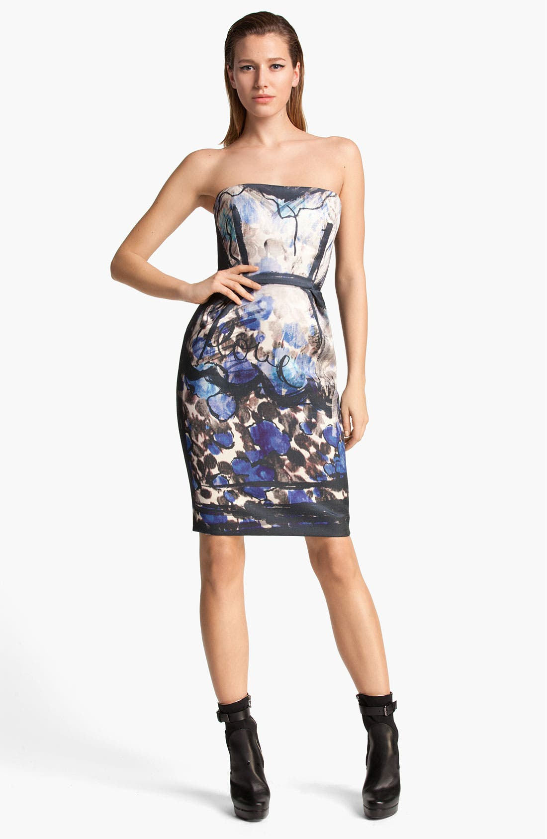 Alternate Image 1 Selected - Lanvin Floral Painted Strapless Dress