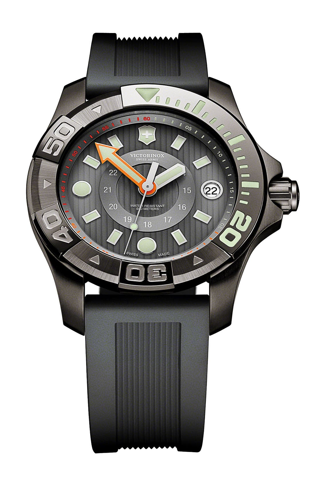 Main Image - Victorinox Swiss Army® 'Dive Master' Round Rubber Strap Watch, 38mm