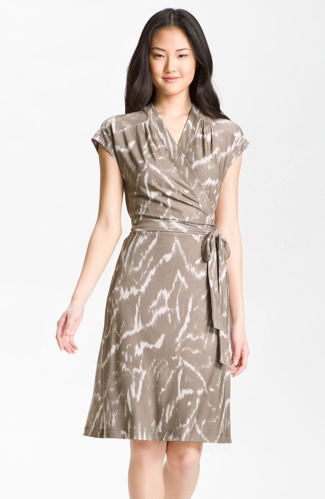 Alternate Image 1 Selected - Alex & Ava Cap Sleeve Jersey Wrap Dress