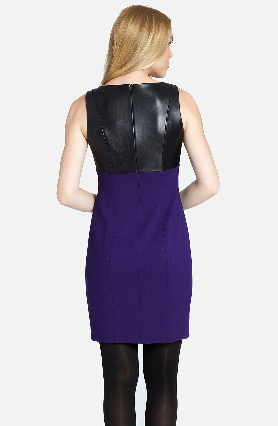 Alternate Image 2  - Cynthia Steffe 'Raquel' Leather Bodice Sheath Dress