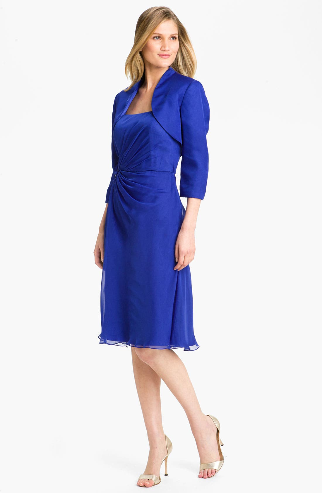 Main Image - Veni Infantino Ruched Chiffon Dress & Bolero