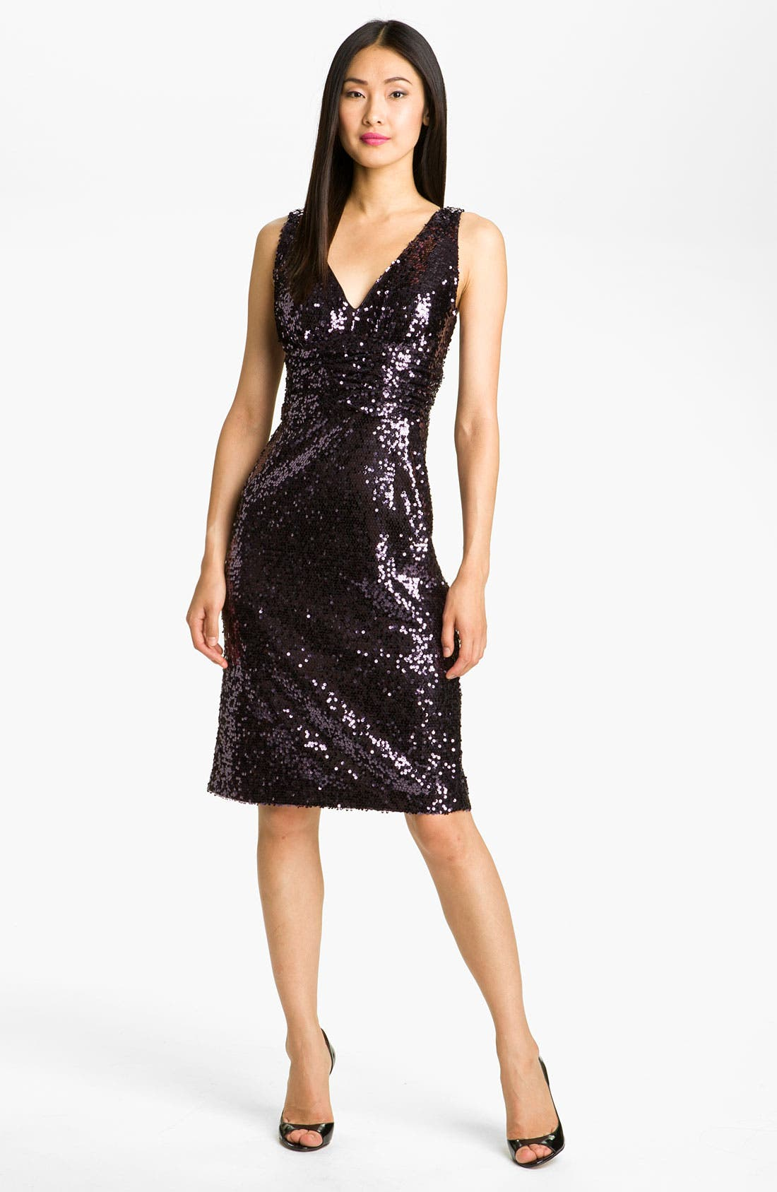 Main Image - Eliza J V-Neck Sequin Sheath Dress