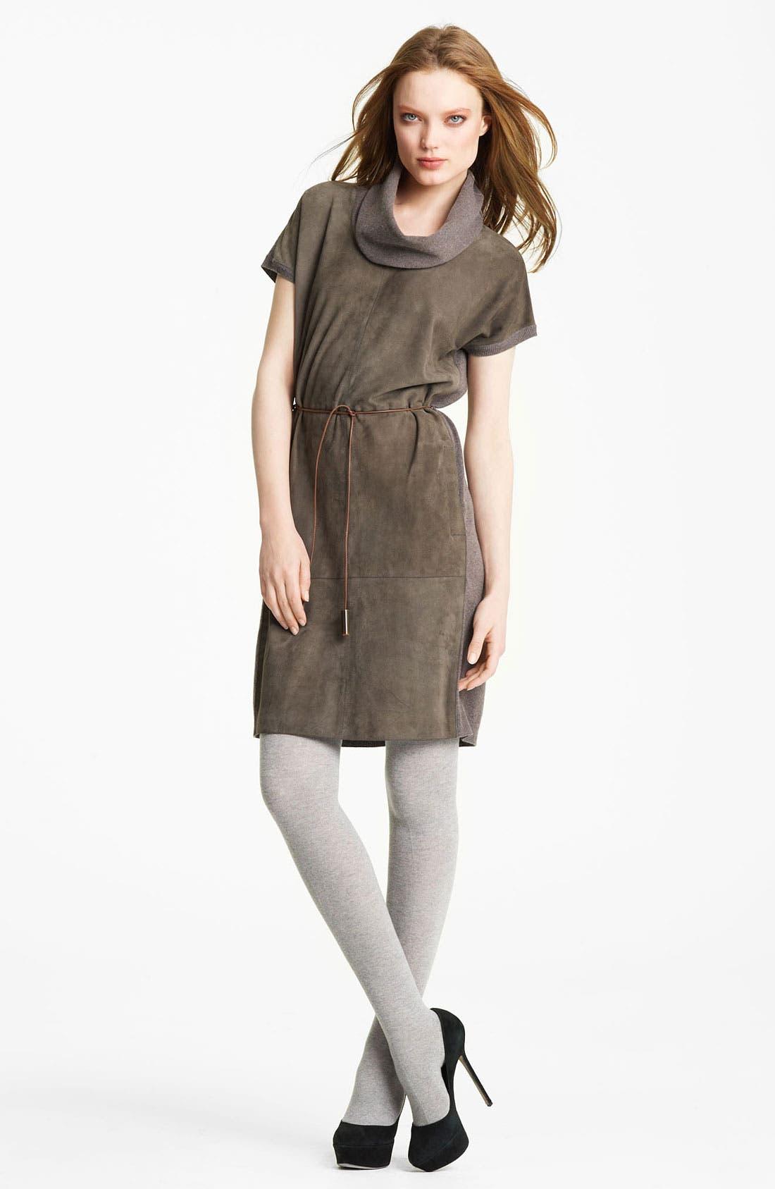 Main Image - Fabiana Filippi Belted Suede & Knit Dress